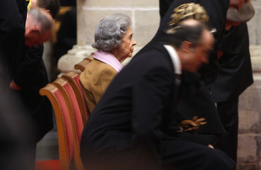 Belgium's Queen Fabiola attends a religious service at the Sint-Gudule cathedral in Brussels