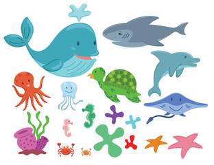 Sea animals cartoon set