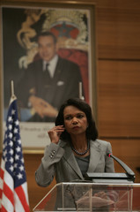 U.S. Secretary of State Condoleezza Rice listens to journalists during a news conference in Rabat