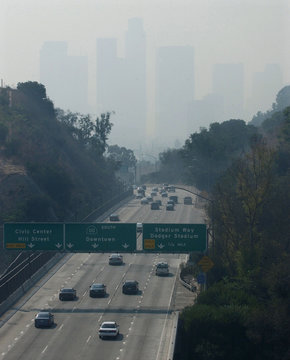 LOS ANGELES SKYLINE OBSCURED BY SMOKE FROM SOUTHERN CALIFORNIA FIRES.