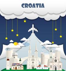 Croatia travel background Landmark Global Travel And Journey Infographic Vector Design Template. illustration.