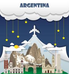 Argentina travel background Landmark Global Travel And Journey Infographic Vector Design Template. illustration.