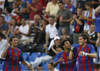 FC Basel players celebrate Huggel's first goal for the team during Champions League qualifying round in Basel