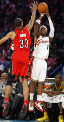 Cavaliers Gibson shoots a three point shot past Raptors Moon during the NBA Rookie Challenge game part of the National Basketball Association All-Star weekend in New Orleans