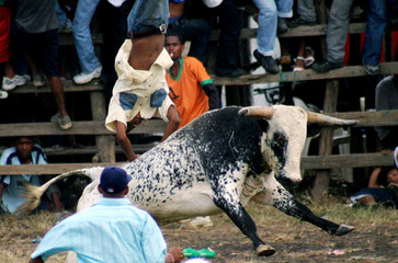 A Colombian man gets tackled by a bull during the Corralejas festival in Covenas