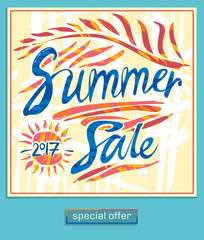 Stylish poster Summer Sale. Hand drawn design of an inscription, a banner or a card for stimulation of sales. Vector  calligraphy design.