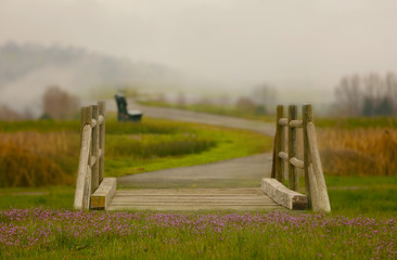 A fairy tale bridge and path with flowers in the foreground and a quiet path meandering into the fog.