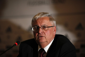 Zwanziger President of the German Soccer Federation attends a news conference at the DFB headquarters in Frankfurt