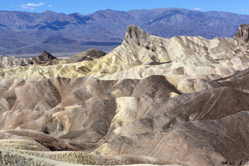 Dry arid desert landscape with rock formations, from Death Valley, Zabriskie Point