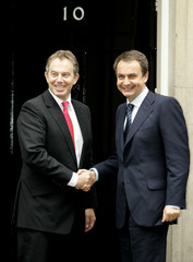 Britain's Prime Minister Blair greets his Spanish counterpart Zapatero on the steps of 10 Downing Street ...