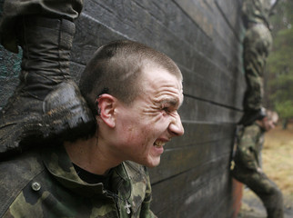 Servicemen of the Interior Ministry's special unit take part in a competition near Volovshchina