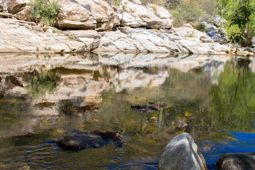 Reflections on Sabino Creek in Sabino Canyon, near Tucson, Arizona