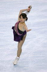 Japan's skater Aki Sawada practices her free skating programme during a training session before the Bompard Trophy event at Bercy in Paris