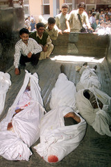 KASHMIRI'S SIT IN A TRUCK NEAR THE BODIES OF FOUR UNIDENTIFIED KASHMIRI MUSLIMS KILLED IN A GRENADE ...