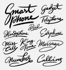 Smart phone and gadget hand written typography. Good use for logotype, symbol, cover label, product, brand, poster title or any graphic design you want. Easy to use or change color