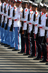 Honour guard stands ready for arrival of Morocco's PM Jettou at Jose Marti airport in Havana