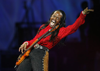 Verdine White of the US funk group Earth Wind and Fire performs during the first night of the 49th International Song Festival in Vina Del Mar