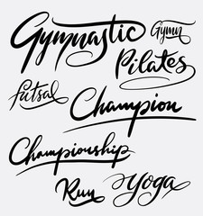 Gymnastic and pilates hand written typography. Good use for logotype, symbol, cover label, product, brand, poster title or any graphic design you want. Easy to use or change color