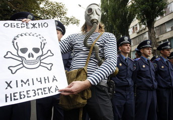 Protester wearing gas mask holds poster picturing skull with hair style similar to that of Premier Tymoshenko during demonstration in Kiev