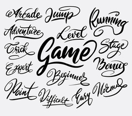 Game trick hand written typography. Good use for logotype, symbol, cover label, product, brand, poster title or any graphic design you want. Easy to use or change color