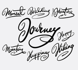 Journey and moment hand written typography. Good use for logotype, symbol, cover label, product, brand, poster title or any graphic design you want. Easy to use or change color