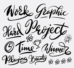Work project hand written typography. Good use for logotype, symbol, cover label, product, brand, poster title or any graphic design you want. Easy to use or change color