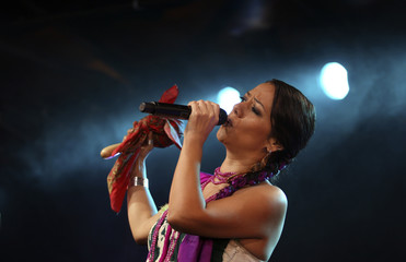 Mexican singer Downs performs during the Moving Stars and Earth for Water live event in Mexico City