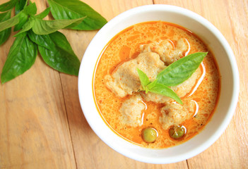 Green Curry With fish ball and eggplant, Thai delicious food
