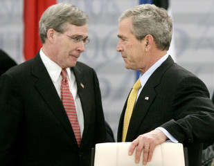 US President Bush attends NATO summit with National Security Advisor Hadley in Riga