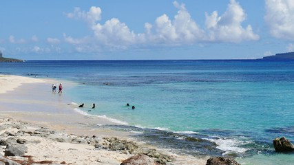 Idyllic Tachogna Beach, Tinian  Scenic seascape of Tachogna Beach in the Northern Mariana Islands