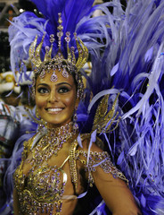 Actress Juliana Paes parades as the Drum Queen of the Viradouro samba school during the first of two nights of Carnival competition between the premier league of schools in Rio de Janeiro