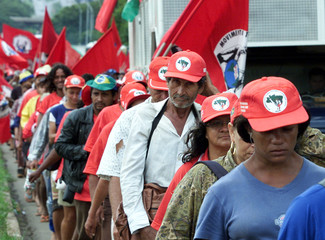 BRAZILIAN RURAL WORKERS MARCH FOR AGRARIAN REFORM.