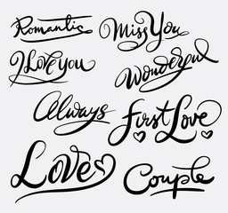 First love hand written typography. Good use for logotype, symbol, cover label, product, brand, poster title or any graphic design you want. Easy to use or change color