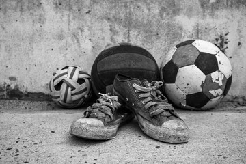 Old sports equipment vintage close up.