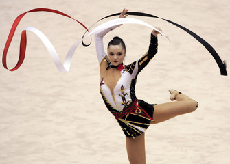 Bessonova of Ukraine performs in individual ribbin competition at Rhythmic Gymnastics World Cup Final in Ise, Japan