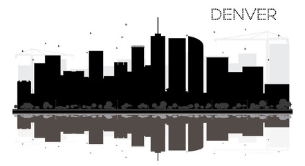 Denver City skyline black and white silhouette with reflections.