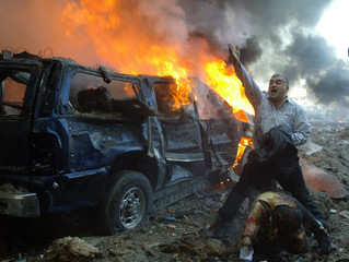 First prize-winning photograph in the Spot News Singles Category of the World Press Photo 2006 contest by Reuters photographer Mohamed Azakir
