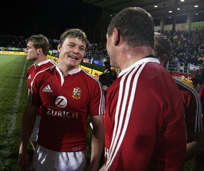 Captain of British and Irish Lions, O'Driscoll, smiles after Lions Tour rugby match against Bay ...