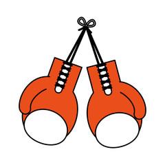 color silhouette image set orange boxing gloves sport element