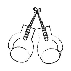 blurred silhouette image set boxing gloves sport element