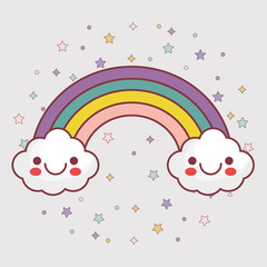 kawaii clouds and rainbow icon over  white background. colorful design. vector illustration