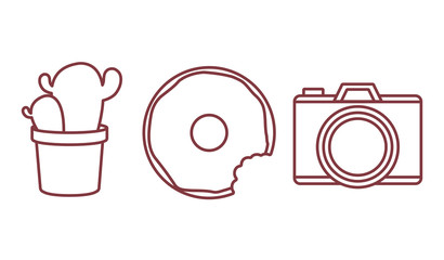 camera, donut and cactus icon over white background. vector illustration