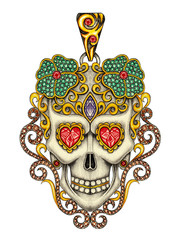 Art skull pendant jewelry. Hand drawing and painting on paper.