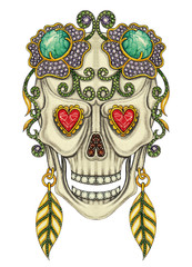 Art skull mix gemstone. Hand drawing and painting on paper.