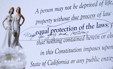 A poster showing the equal protection clause of the California Constitution, at the East Los Angeles Recorder Office in Los Angeles