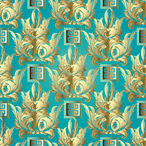 """Damask floral seamless pattern. Light blue turquoise ..."