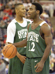 MATEEN CLEAVES AND MORRIS PETERSON AT PRACTICE.