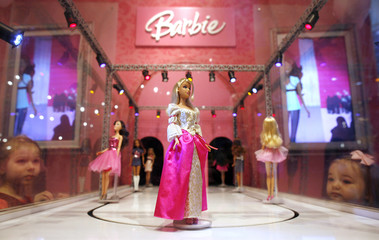 A Barbie doll is seen inside the FAO Schwartz toy store in New York
