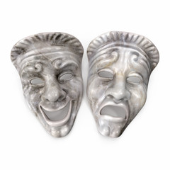 Theatre Masks Set White Marble on white. 3D illustration