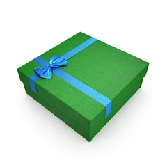 Square green giftbox with lid tied with an ornamental blue ribbon on white. 3D illustration